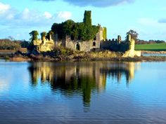 Old castle ruins on the River Shannon, Ireland