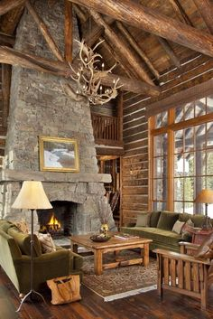 47 Extremely cozy and rustic cabin style living rooms Log Cabin Living, Log Cabin Homes, Home And Living, Log Cabins, Boho Home, Beautiful Living Rooms, Fireplace Design, Fireplace Hearth, Great Rooms