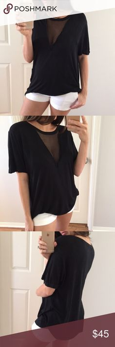 Black V Grid Top Super cute black top with front v shaped woven grid inset. Purchased from another posher but it is a just little too big for me, so sadly re-poshing. Short cuff sleeves and crew neckline. Boxy relaxed fit. 100% rayon. Tops Tees - Short Sleeve