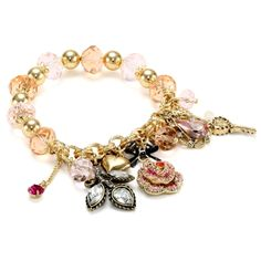 """Betsey Johnson """"Iconic Ombre Rose"""" Multi-Charm Half Stretch Bracelet - designer shoes, handbags, jewelry, watches, and fashion accessories 
