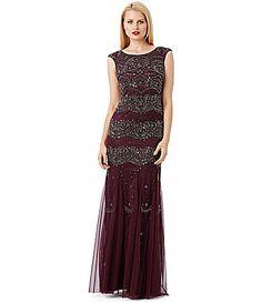 Adrianna Papell Beaded Overlay Gown #Dillards