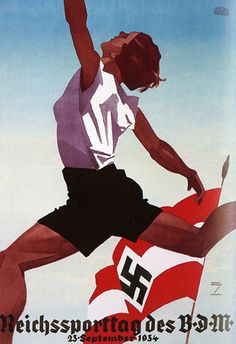 Pictorial Modernism poster designed by Ludwig Hohlwein 1934. The Reich Sports Day of the Association of German Girls.