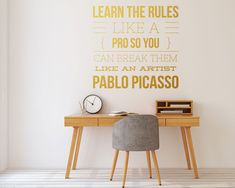The Break The Rules Wall Decal is ideal for quickly and easily transform any office workspace. Office Wall Decals, Office Walls, Office Workspace, Office Art, Creative Office Decor, Sticker Vinyl, White Vinyl, Textured Walls, Wall Decor