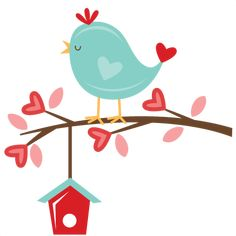 Valentine Bird on Branch