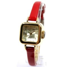 FW957C New Gold Tone Dial Red Band Square Ladies Women Fashion Watch