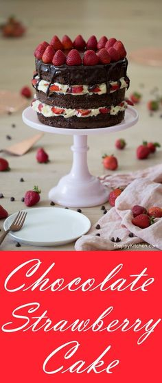 Chocolate Strawberry Cake - Preppy Kitchen The best chocolate strawberry cake with a creamy frosting Chocolate Strawberry Desserts, Strawberry Cake Recipes, Chocolate Strawberries, Cupcake Recipes, Chocolate Recipes, Strawberry Cake Decorations, Summer Desserts, Fun Desserts, Delicious Desserts