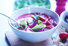 Pink coconut soup