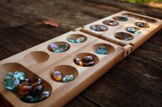 Wooden Mancala Game Board Set with Markers