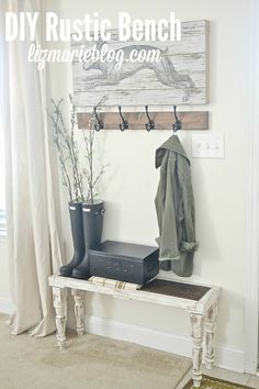 DIY Rustic Bench - so easy anyone can make it! You can build it in any dimensions you want so it will fit in any space you need a bench in your home!