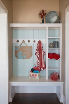 Diy home decor on a budget. House of Turquoise: Visbeen Architects -I love the light blue accent and beachy take on the tradition mud-room concept. Of course I'd change out the red for turquoise because that's just how I roll. House Of Turquoise, Entryway Storage, Corner Storage, Shoe Storage, Small Hallways, Bench Designs, Storage Design, Storage Ideas, Storage Solutions