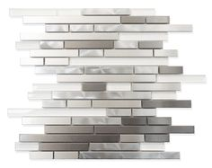 A beautifully arranged combination of metal and super white glass mosaic strips on a 12 x 12 mesh sheet. Make a bold statement in your kitchen with a new backsplash from Rocky Point Tile! Also makes f