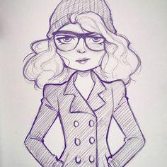 Doodling on my lunch break. #doodle #sketch #art #drawing #wintercoat #illustration #character #cameronmark