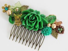 One of a kind floral hair comb--perfect for a quirky wedding or any summer day.