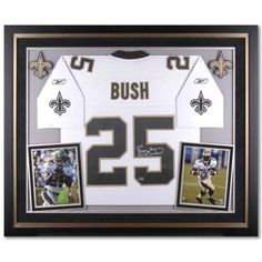 Framed jerseys with sports pictures