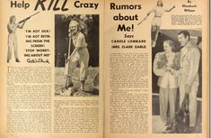 A Screenland magazine article of Carole Lombard, 1940: Help Kill Crazy Rumors About Me! Says Carole Lombard (Mrs. Clark Gable)