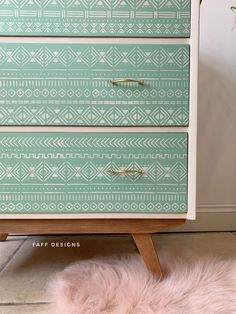 This mid century Remploy chest of drawers has been given a modern tribal makeover with stencil detail and a two tone colour scheme in Dixie Belle Paint - Mint Julep and Drop Cloth Patterned Furniture, Retro Furniture, Mid Century Modern Furniture, Cool Furniture, Painted Furniture, Diy Furniture Projects, Furniture Makeover, Chest Of Drawers Makeover, Painted Sideboard