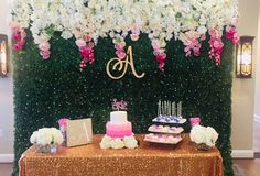 Ombrè Flower Hedge Backdrop at a little girl's birthday party!