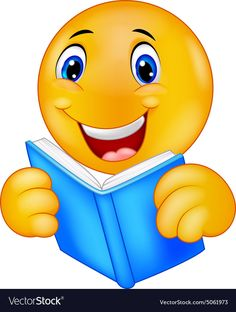 Happy smiley emoticon reading book vector image on VectorStock