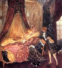 Edmund Dulac--Sleeping Beauty Upon Bed