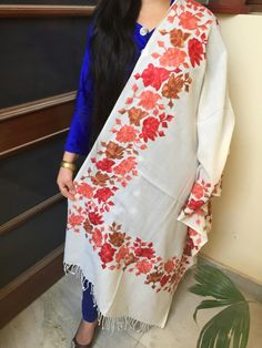 Kashmiri embroidered shawl....For more enquire please contact gogorgeousindia@gmail.com Indian Outfits, Indian Clothes, Kashmiri Shawls, Cashmere Shawl, Indian Wear, Hand Embroidery, Knit Crochet, Kimono Top, Elegant
