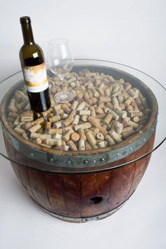 Natural Wine Barrel Coffee Table with Cork and Glass Top - Products - Wine Barrel Coffee Table, Wine Cork Table, Wine Cork Art, Wine Corks, Wine Barrel Garden, Wine Cork Holder, Coffee Tables, Wine Craft, Wine Cork Crafts