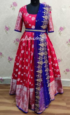 Long frock designs Kanchi long frock paired with cutwork dupatta # designer long frocks # cutwork dupatta # long gown designs # wedding frocks # bridal wear # red colour frock<br> Long Frocks For Kids, Frocks For Girls, Girls Frock Design, Kids Frocks Design, Indian Gowns Dresses, Indian Fashion Dresses, Designer Anarkali Dresses, Designer Dresses, Wedding Dress