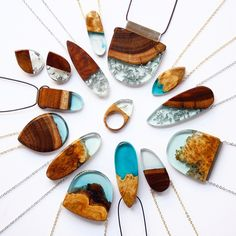 «A round of blue pieces. All made from Australian wood and resin. BoldB.