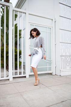 Karla's Closet | Silver Symbols: Wearing a Cos sweater, Margiela belt, Zara pencil skirt, Jimmy Choo pumps, and vintage sterling silver jewelry.