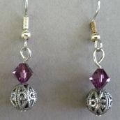Pair of amethyst filigree earrings. These are dainty. Designed by the Prairie Pine Peddler and ready for purchase.