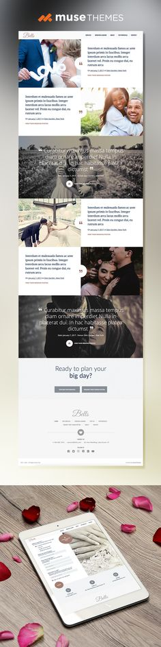 The Bells theme is perfect for a wedding planning service, or a wide variety of other businesses. Built by MuseThemes.com for Adobe Muse  #adobemuse #musethemes #web #webdesign #design #graphicdesign #marriage #wedding #weddingwebsite