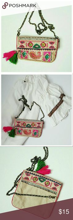 Ethnic Embroidered Crossbody Bag - Aldo  - Multi - Canvas - 9 in L ,5 inH, 52in total length of strap - Boho perfect, zipper closure Aldo Bags