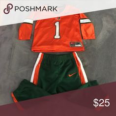 UNIV OF MIAMI #1 FAN WORN ONCE. University of Miami Kids jersey and pant. Long sleeve jersey and elastic pull on pants. 12 months size. Can be for either girls or boys! Nike Matching Sets