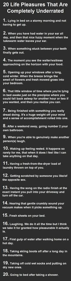 20 Life pleasures that are completely underrated  It's the little things in life.