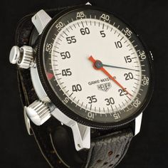 Heuer Game Master wrist stopwatch ref. The target group were radio, television and film directors, rally drivers and sports referees and coaches. The right side button is a lock for the outer rotating bezel. The left side pu Rally Drivers, Tag Heuer, Vintage Watches, Timeline, Dan, Coaches, Chronograph, Target, Hairstyles