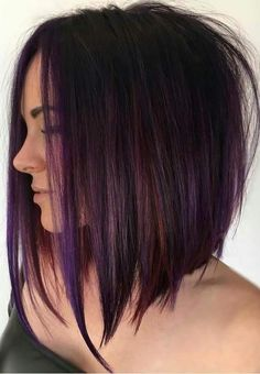 Purple Tinted Brunette Lob beautiful hair styles 70 Best A-Line Bob Hairstyles Screaming with Class and Style Brunette Lob, Rich Brunette, Bob Hairstyles Brunette, Inverted Bob Hairstyles, Stacked Haircuts, Long Bob Haircuts, Medium Hair Styles, Short Hair Styles, Pastel Hair