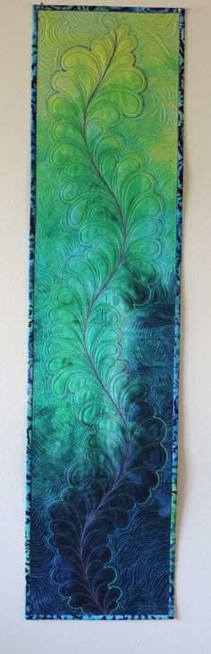 MarveLes GREEN MEADOWS Quilt feather table runner by marveles