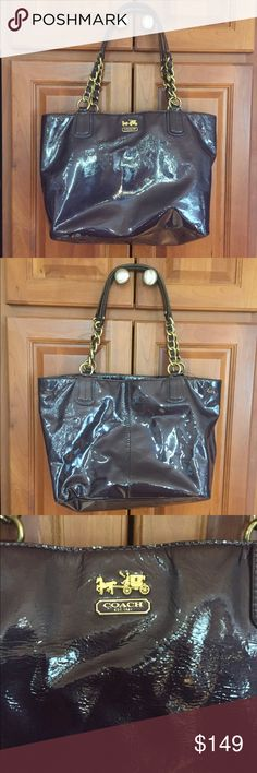 🌼 Gorgeous Coach bag-deep purple color! Beautiful patent leather authentic Coach bag! Gorgeous color-deep plum/eggplant. Great condition on outer body-no cracks or marks. Looks new! Some wear on inner lining and wear on bottom 4 corners-see last picture. Coach Bags
