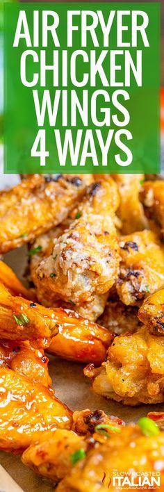 Air Fryer Chicken Wings 4 Ways Recipe Using Chicken, Chicken Wing Recipes, Honey Bbq Wings, Slow Cooker Recipes, Cooking Recipes, Chicke Recipes, The Slow Roasted Italian, Air Fryer Chicken Wings, Air Fryer Recipes Easy