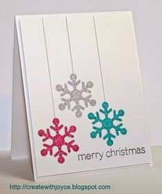 Card by Joyce uses Lawn Fawn Stitched Snowflakes dies & Trim the Tree stamp set. Christmas Card Crafts, Homemade Christmas Cards, Christmas Cards To Make, Xmas Cards, Homemade Cards, Holiday Cards, Christmas Card Designs, Cricut Christmas Cards, Cards Diy