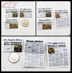 ZOMBIE APOCALYPSE NEWSPAPER Dollhouse 1:12 Scale Miniature Zombie Attack Dead