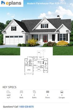 This modern farmhouse style home gives you an open floor plan, big front porch, and room to grow. Call 1-800-528-8070 today. #architect #architecture #buildingdesign #homedesign #residence #homesweethome #dreamhome #newhome #newhouse #foreverhome #interiors #archdaily #modern #farmhouse #house #lifestyle #design