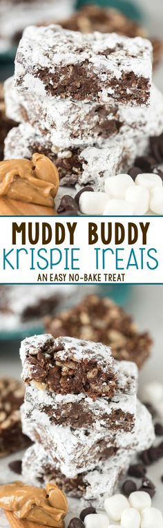 Easy Muddy Buddy Krispie Treats - peanut butter chocolate cereal treats coated in powdered sugar! Chocolate Cereal, Chocolate Peanut Butter, Cereal Treats, Powdered Sugar, Krispie Treats, Easy, Desserts, Recipes, Food