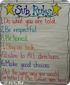 anchor chart listing rules when there is a substitute teacher :) Step into Grade with Mrs. Lemons: My Emergency Sub Plans and a Fun Giveaway! 2nd Grade Classroom, Classroom Behavior, Classroom Posters, School Classroom, Classroom Ideas, Classroom Organization, Future Classroom, Classroom Rules High School, Ideas