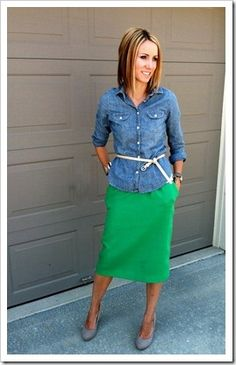 chambray shirt, kelly green skirt, nude shoes