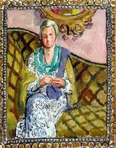 ✽   vanessa bell  -  'helen anrep in duncan grant's studio, charleston'  -   1940   -  oil on canvas