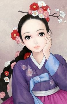 "South Korean illustrator Obsidian (also known as Huk-yo-suk) ""Rapunzel"" Hanbok Art And Illustration, Korean Illustration, Korean Painting, Painting & Drawing, Korean Art, Asian Art, Art Du Monde, Art Mignon, Art Asiatique"