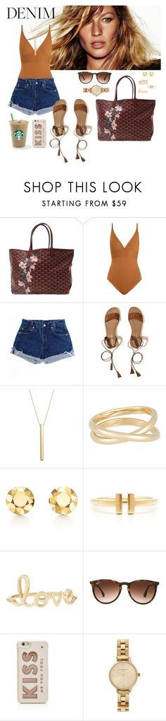 """""""Untitled #55"""" by rafieldshow ❤ liked on Polyvore featuring Goyard, Eres, Levi's, Hollister Co., Bloomingdale's, Maison Margiela, Elsa Peretti, Tiffany & Co., Sydney Evan and Ray-Ban"""