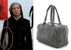 Elementary season 2, episode 11: Joan Watson's (Lucy Liu) Liebskind gray studded leather purse #elementary #getthelook