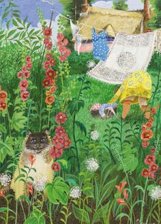 'Among The Hollyhocks' By Painter Stephanie Lambourne. Blank Art Cards By Green Pebble. www.greenpebble.co.uk