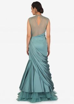 Turkish Blue Satin Gown with Resham Work and Pleated Bodice Only on Kalki Heavy Dresses, Girls Formal Dresses, Dresses For Teens, Stylish Dresses, Fashion Dresses, Drape Dress Pattern, Dress Patterns, Indian Designer Outfits, Designer Gowns